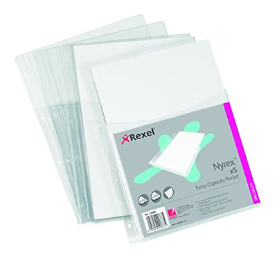 Rexel Nyrex Heavy Duty Extra Capacity A4 Pockets Clear, Pack of 5