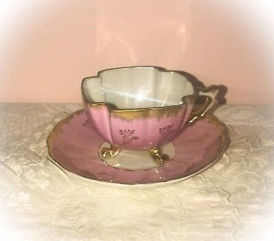 Vintage SHAFFORD Footed Opalescent TEA CUP & SAUCER SET In Pink W Gilding