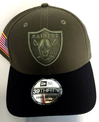 12adb65c99e NEW ERA 39Thirty Salute to Service Hat Cap Oakland Raiders NFL Football Sm   Med