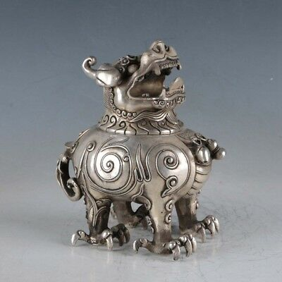 Chinese  Silvering Copper Unicorn Incense Burner Made By The Royal DaQingBT0012