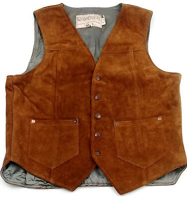 Schott NYC Rancher Suede Leather Vest Mens Medium Brown Vintage Western Cowboy