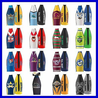 NRL Long Neck Tallie Beer Bottle Cooler Holder Wine Bottle - Select Team