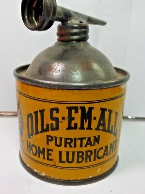 RARE VINTAGE 1930-40's OILS-EM-ALL PURITAN OIL TIN CAN HANDY OILER W/ DOUBLE TOP
