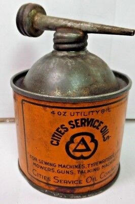 RARE VINTAGE 1930-40's CITIES SERVICE OILS OIL TIN CAN HANDY OILER W/ DOUBLE TOP