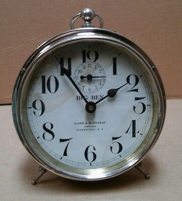 Rare Antique 1913 Westclox Big Ben Style 1 alarm clock nickel plated - Serviced