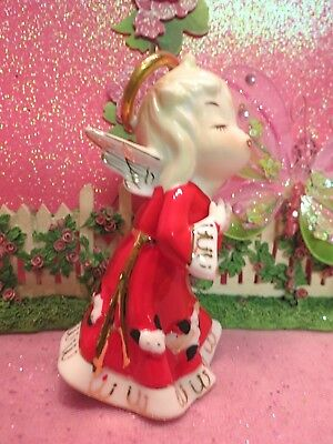 Vtg 1956 LEFTON Christmas Kissing Praying Angel W Red Gold Loop Dress SWEET