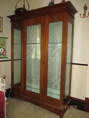 Antique Timber Wooden & Glass Display Cabinet Bookcase 140cm
