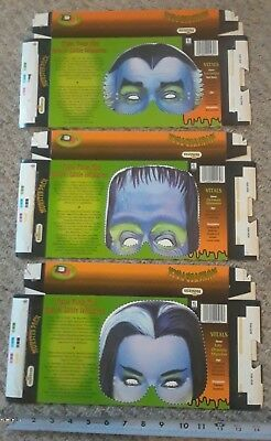 3 Different 1992 Hostess Munster Pack Boxes - Herman Lily Grandpa Free Masks