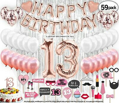 13th Birthday Decorations 13 Party Supplies Cake Topper Rose Gold