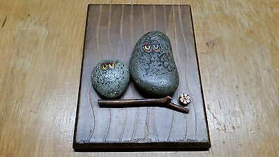 Owl Vintage Mixed Media Hand Painted Artwork Natural Rock and Wood