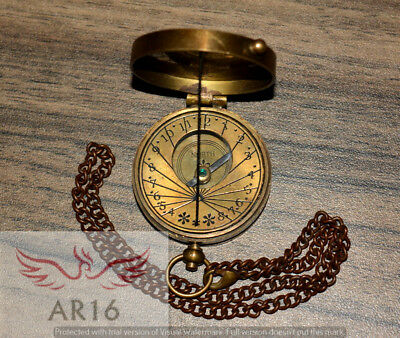 Antique Vintage Brass Pocket Sundial Compass Made For Royal Navy London-Replica