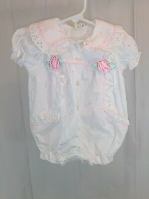 Vintage Baby Togs Button Front Smocked Rose Romper Embroidered 3-6 Months