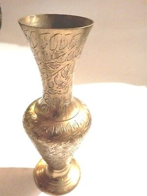 Antique India Middle Eastern Brass Vase Manual inscription Collectibl Decorative