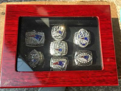 7PCS New England Patriots Championship Ring With Wooden Display Box Set Fan Gift