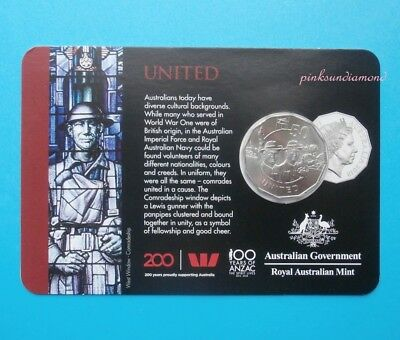 Australia 2018 Anzac Spirit Collection 50c Fifty Cent United Coin