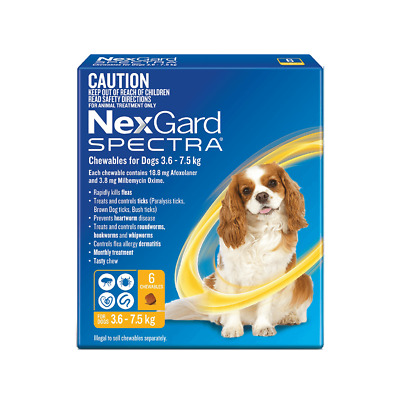 NexGard Spectra for Small Dogs 3.6 - 7.5kgs YELLOW 6 PACK - Free Shipping