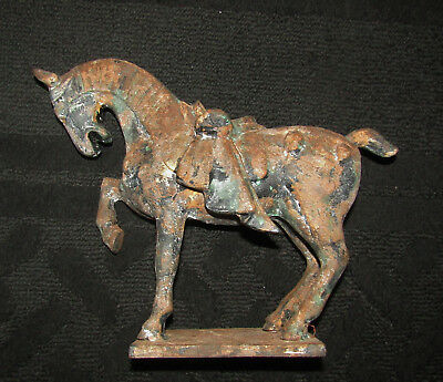 """VINTAGE ASIAN HORSE STATUE Made in Japan Chinese Style Cast Iron 9""""T x 10 1/2""""W"""