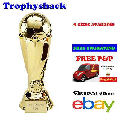 Gold Football Tower Trophy Man of the Match Award 5 sizes FREE ENGRAVING & P&P