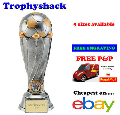 Antiq Silver Football Tower Trophy Man of the Match Award 5 sizes FREE ENGRAVING
