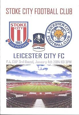 STOKE CITY v LEICESTER CITY 04.01.14 FA CUP 3rd ROUND PROGRAMME