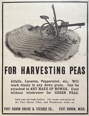 1907 Ad.(Xd1)~Port Huron Engine & Thresher Co., Windrower For Peas