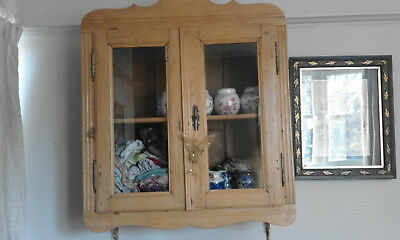 Antique french victorian pine glazed wall hanging cabinet cupboard