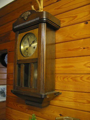 Vintage Oak Chiming Wall Clock Pendulum Wall Clock Old Wall Clock