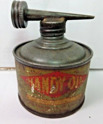 VINTAGE 1930-40's GREAT EASTERN HANDY OIL CO. TIN CAN HANDY OILER W/ DOUBLE TOP