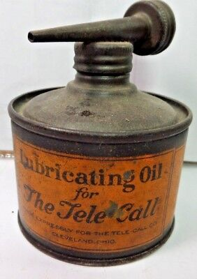 VINTAGE 1930-40's (THE TELE CALL)  OIL CO. TIN CAN HANDY OILER W/ DOUBLE TOP