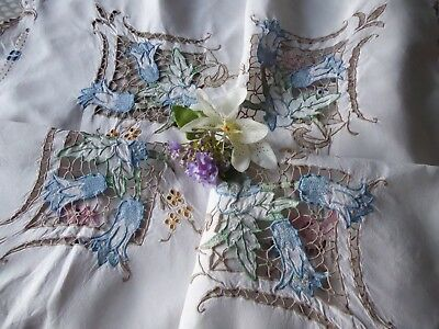 Vintage Hand Embroidered Tablecloth/ Exquisite Pink/blue Flowers With Openwork