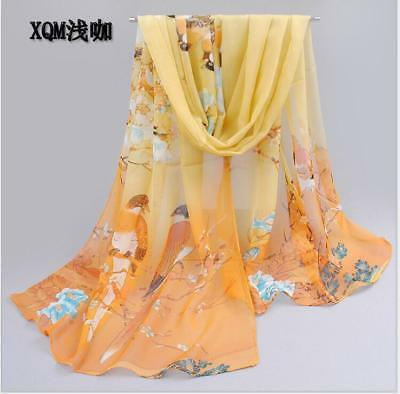 New Women's Long Flower Print Chiffon Scarf Soft Wrap Lady Shawl Silk Yellow