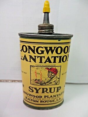 VINTAGE 1930-40's LONGWOOD PLANTATION SYRUP OIL TIN CAN HANDY OILER W/LEAD TOP