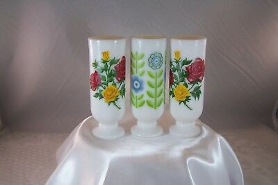 3 Avon White Milk Glass Footed Vases with handles Flowers on all Vintage