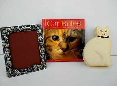 Cat Trinket Box Crowning Touch- Cat Rules Book 2002- Pewter Cat Picture Frame