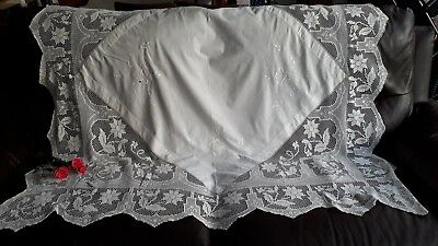 Vintage Wedding Tea Party Hand Embroidered & Crochet Lace Cotton Tablecloth