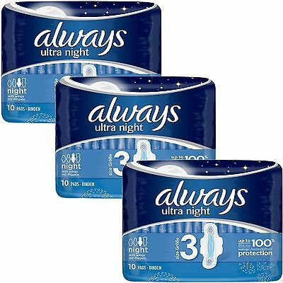 Always Ultra Nuit Serviettes Hygiéniques Tampons Wings Femmes Super Absorbant