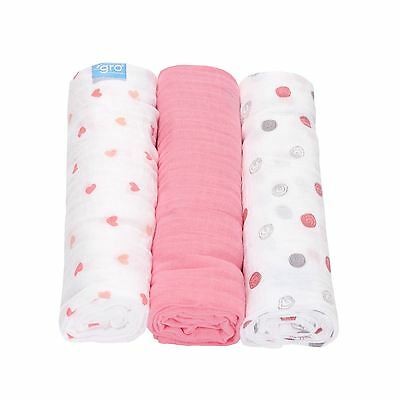 Sweetheart Swirl 3-Pack Bébé Gro Mousseline Couverture Emmailloter par The