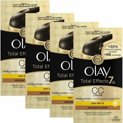 4 Olay Total Effects Color Corrección Crema Hidratante Spf 15 Mediumtodark 50ml