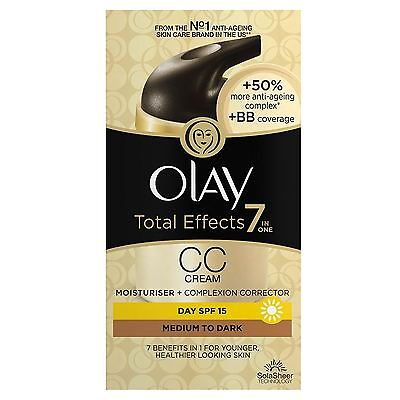 Olay Total Effects Color Corrección Crema Hidratante Spf 15 Mediana a Oscura
