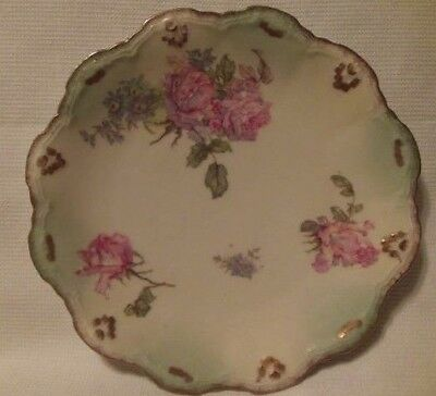 Vintage Limoges France L S & S Scalloped Plate Pink Cabbage Roses Hand Painted