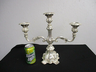 1  Vintage  Wm  Rogers Silver plate  3 Candle  Candelabras  Eagle  & Star  mark