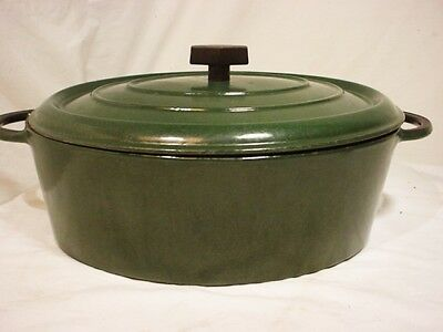 Vtg Green 6 Qt Green Cast Iron Oval Roaster Lid ? Early Le Creuset  #33 France