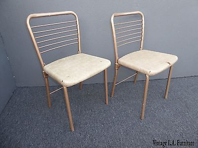 Pair Vintage Mid Century Modern Retro Tan Folding Metal Chairs