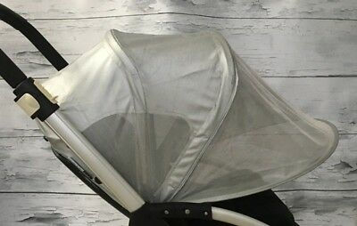 Bugaboo Bee Breezy Sun Canopy Silver Discontinued Extendable UPF Protection Mesh
