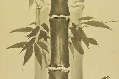 BAMBOO SPARROW JAPANESE PAINTING HANGING SCROLL ANTIQUE OLD JAPAN VINTAGE c704