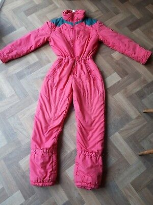 Size 14/36 Bust Pink Vintage Snow Suit Retro 'Asda Sport' All-in-One Sports (24)