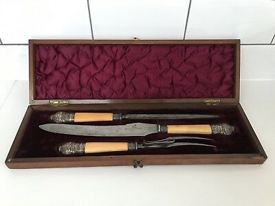 Antique 1851 Boxed Carving Set Harrison Bros & Howson(cutlers to her Magesty)