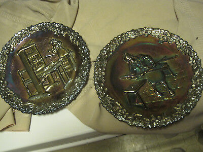 Fenton Amethyst Carnival Glass LOT OF 2 Craftsman GLASS  #1& #2 Collector Plates