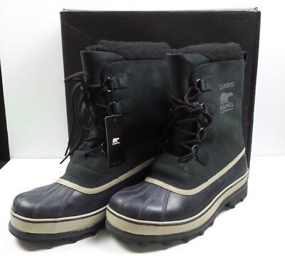 Sorel Men's Caribou Black / Tusk Waterproof Cold Weather Winter Boots 13