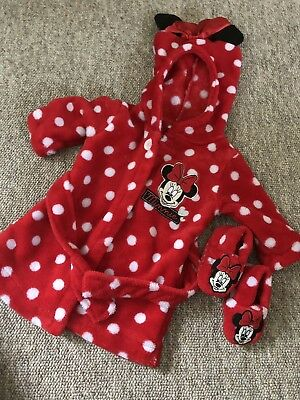 Minnie Mouse Dressing Gown And Slippers 0-3 Months